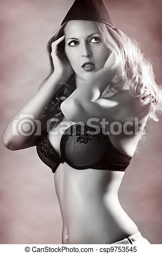 Fashion portrait of pin-up girl - csp9753545