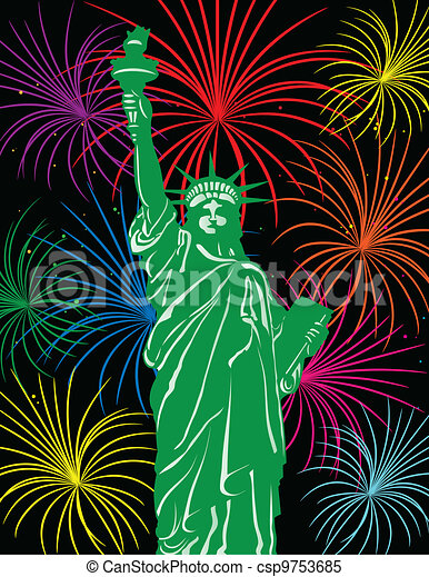 Statue of Liberty with Fireworks Illustration - csp9753685