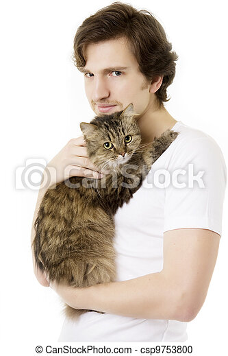 Man who keeps on hand fluffy cat - csp9753800