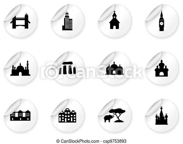 Stickers with landmark icons - csp9753893