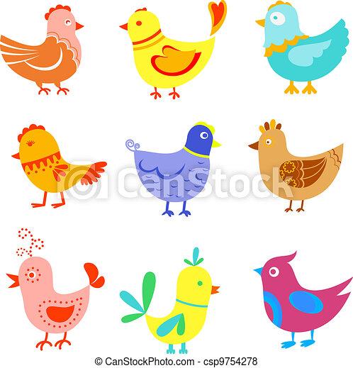 Fun doodle birds and cocks - csp9754278