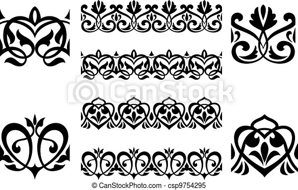 Ornamental elements and embellishments - csp9754295