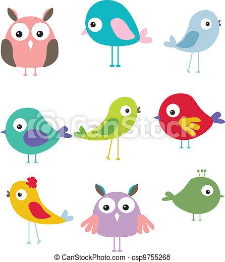 Vector set of different cute bird cartoon stock illustration