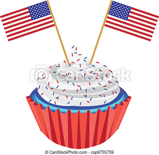 4th of July Cupcake with Flag Illustration - csp9755759