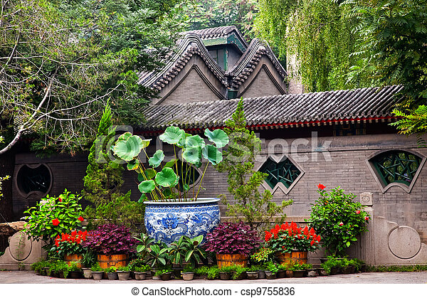 Garden Walls Porcelain Pot Former Residence of Soong Ching-Ling, Wife of Sun Yat-Sen, Beijing China. - csp9755836