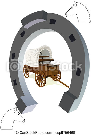 Horseshoe and a covered wagon - csp9756468