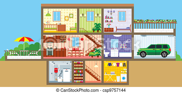 Eps Vector Of House In A Cut Vector Illustration Color