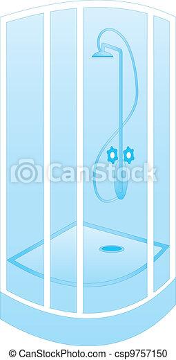clipart vecteur de douche cabine vecteur illustration couleur entiers csp9757150. Black Bedroom Furniture Sets. Home Design Ideas
