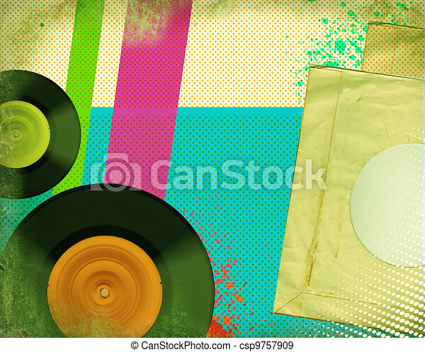 Retro music poster.Pop art background with music records - csp9757909