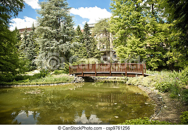 Zagreb botanical garden lake and bridge - csp9761256