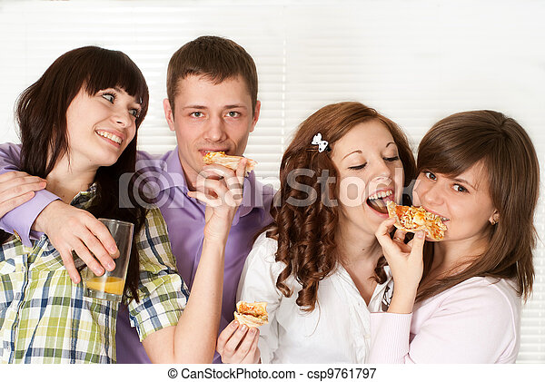 Happy luck Caucasian campaign of four people eating pizza - csp9761797