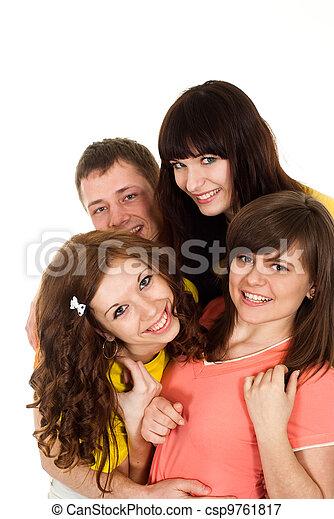 Bliss Caucasian brilliant campaign of four people fool around  - csp9761817
