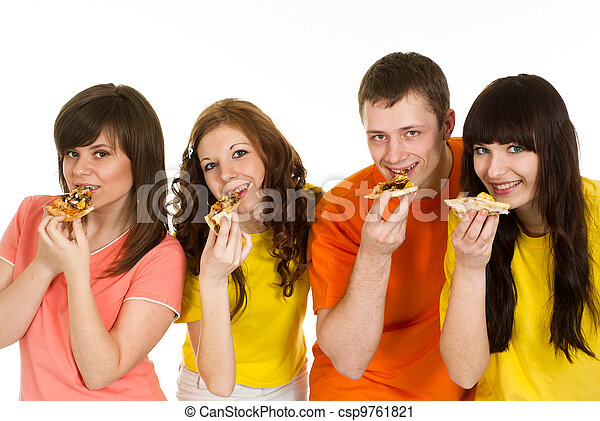 Happy Caucasian brilliant campaign of four people eating pizza - csp9761821