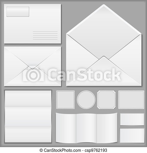 Envelopes, paper and postage stamps - csp9762193