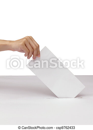 Lady hand putting a voting ballot in slot of white box isolated on white - csp9762433
