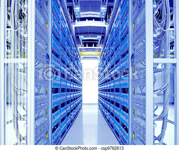 shot of network cables and servers in a technology data center - csp9762613