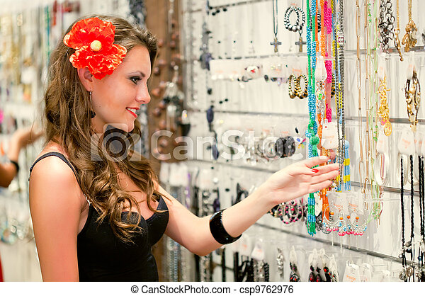 woman is choosing jewerly - csp9762976