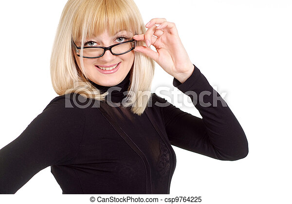 Portrait of a beautiful happy gladness blonde Caucasian woman - csp9764225