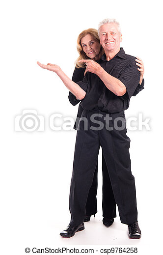 elderly couple posing - csp9764258