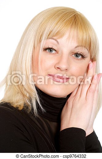 Portrait of a beautiful gladness blonde Caucasian girl  - csp9764332