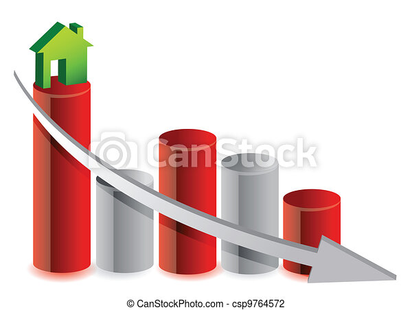 falling house market illustration  - csp9764572