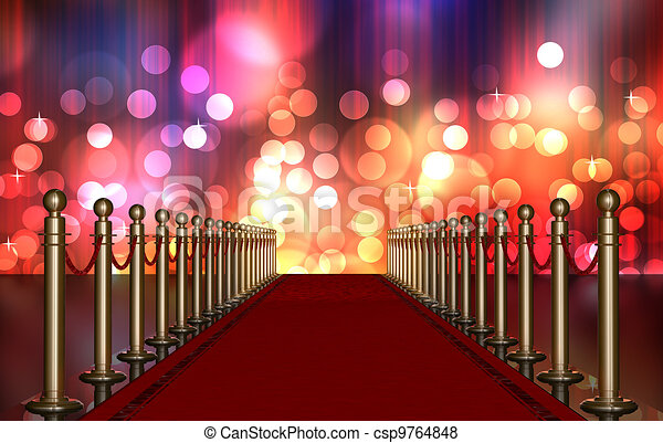red carpet entrance with Multi Colored Light Burst - csp9764848