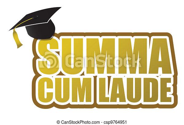 Summa cum laude graduation sign - csp9764951