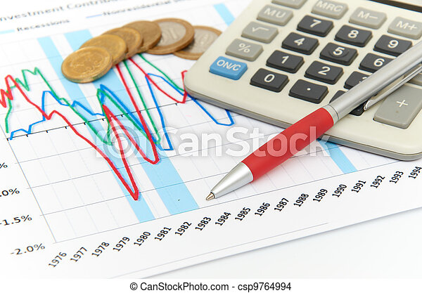Calculator, coins and pen laying on chart. Concept of finance. - csp9764994