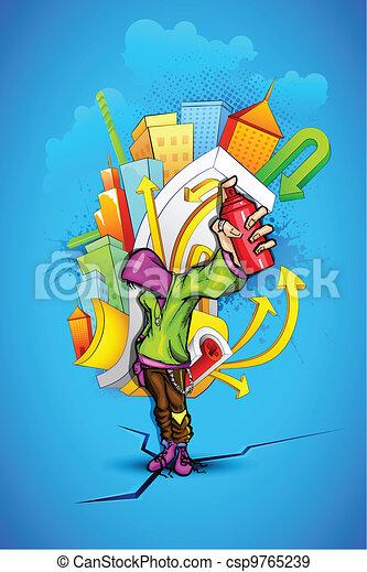 Cool Guy with Urban Grafitti - csp9765239