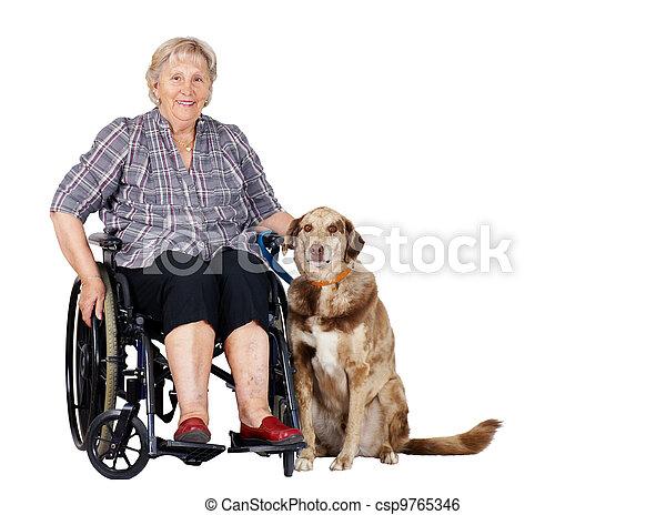 image de personne agee fauteuil roulant femme chien happy femme csp9765346 recherchez. Black Bedroom Furniture Sets. Home Design Ideas