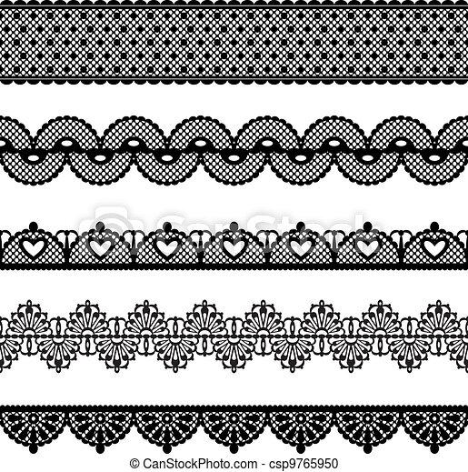 Clipart vecteur de ensemble seamless dentelle set de dentelle trims csp9765950 - Dessiner un ruban ...
