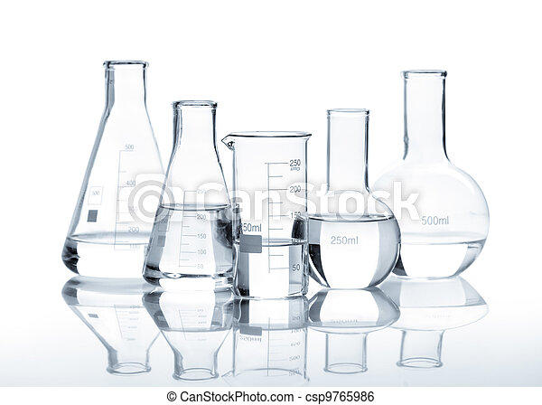 Five glass flasks with a clear liquid - csp9765986
