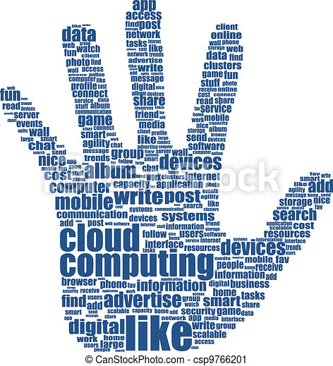 hand which is composed of text keywords on social media themes - csp9766201