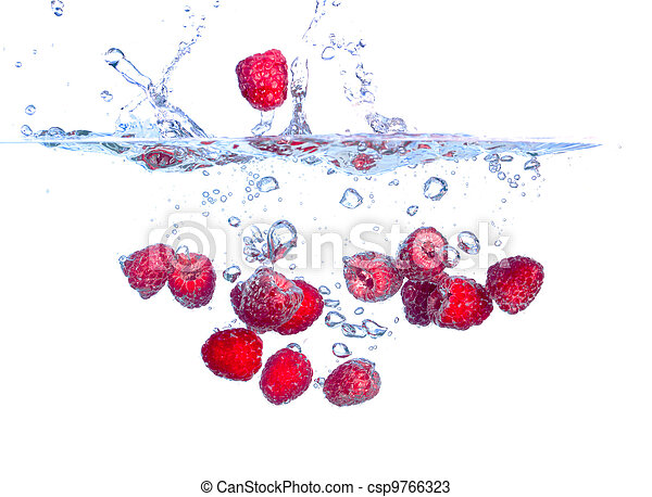 Red Raspberries Falls under Water with a Splash - csp9766323