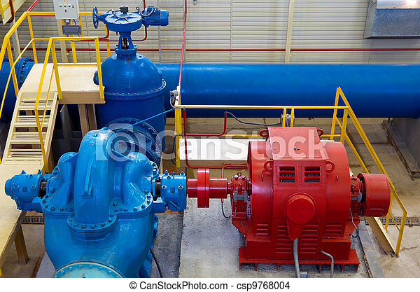 Water pumping station, industrial interior and pipes - csp9768004