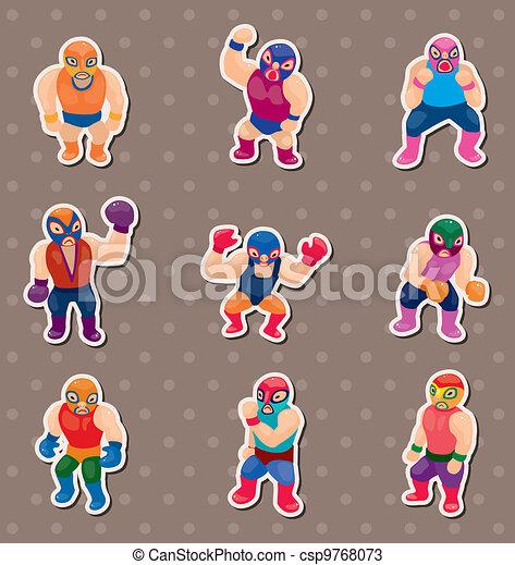 cartoon wrestler stickers - csp9768073