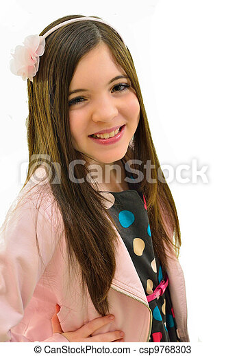 stock photos of pretty ten year old girl   a pretty smiling ten year