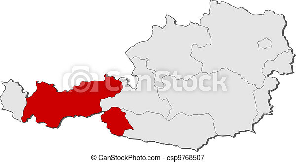 Map of Austria, Tyrol highlighted - csp9768507