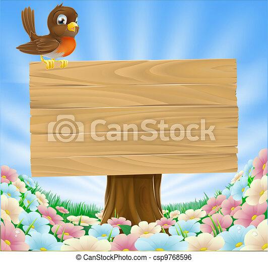 Bird on wooden sign background - csp9768596