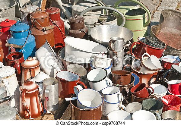 Stock photo of bric a brac market tinware csp9768744 for Bric a brac napoli arredamento
