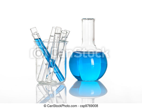 Chemical flask with a blue tubes inside - csp9769008