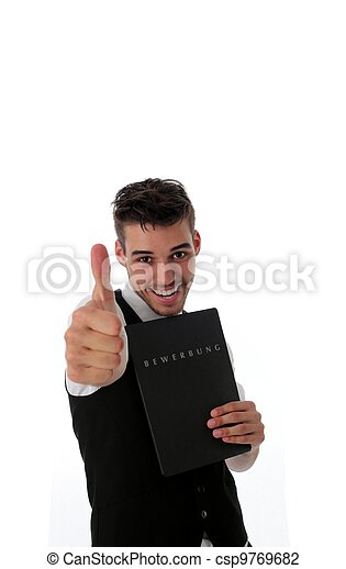 Enthusiastic man with a job application - csp9769682