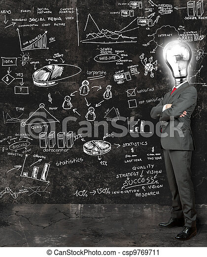 Businessman reflect on new ideas - csp9769711