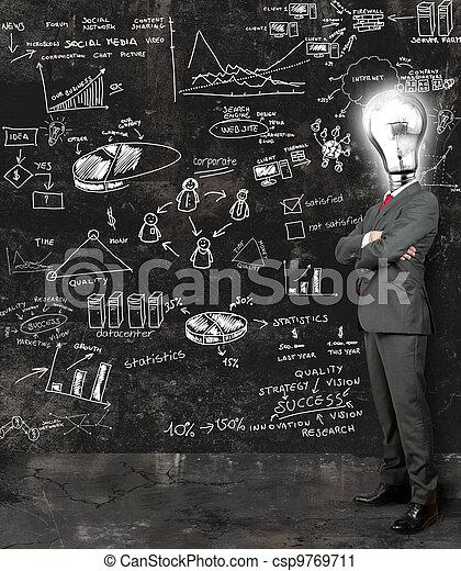 Businessman reflect on new ideas - csp9769711