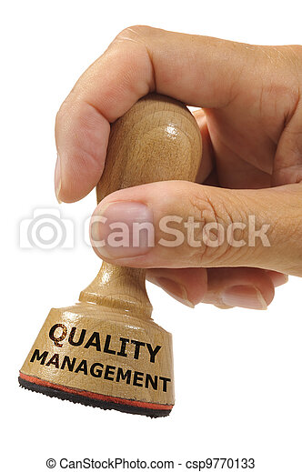 rubber stamp marked with quality management - csp9770133