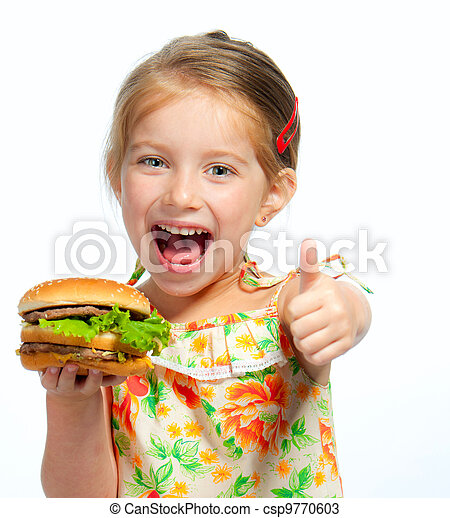 little girl eating a sandwich isolated - csp9770603