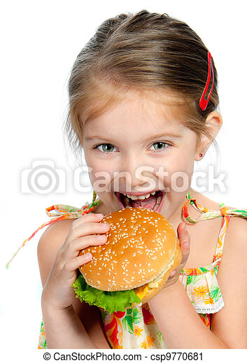 little girl eating a sandwich isolated - csp9770681