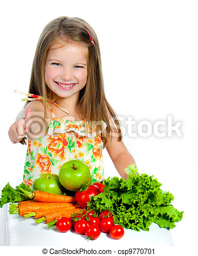 sweet girl with vegetables - csp9770701