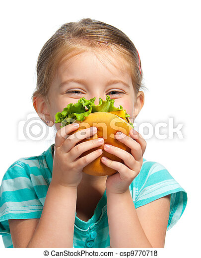 little girl eating a sandwich isolated - csp9770718