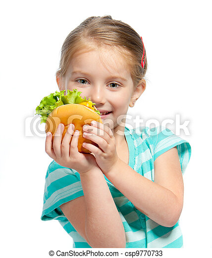 little girl eating a sandwich isolated - csp9770733
